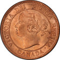 """Canada: Victoria """"Narrow 9"""" Cent 1859 MS65 Red and Brown PCGS"""