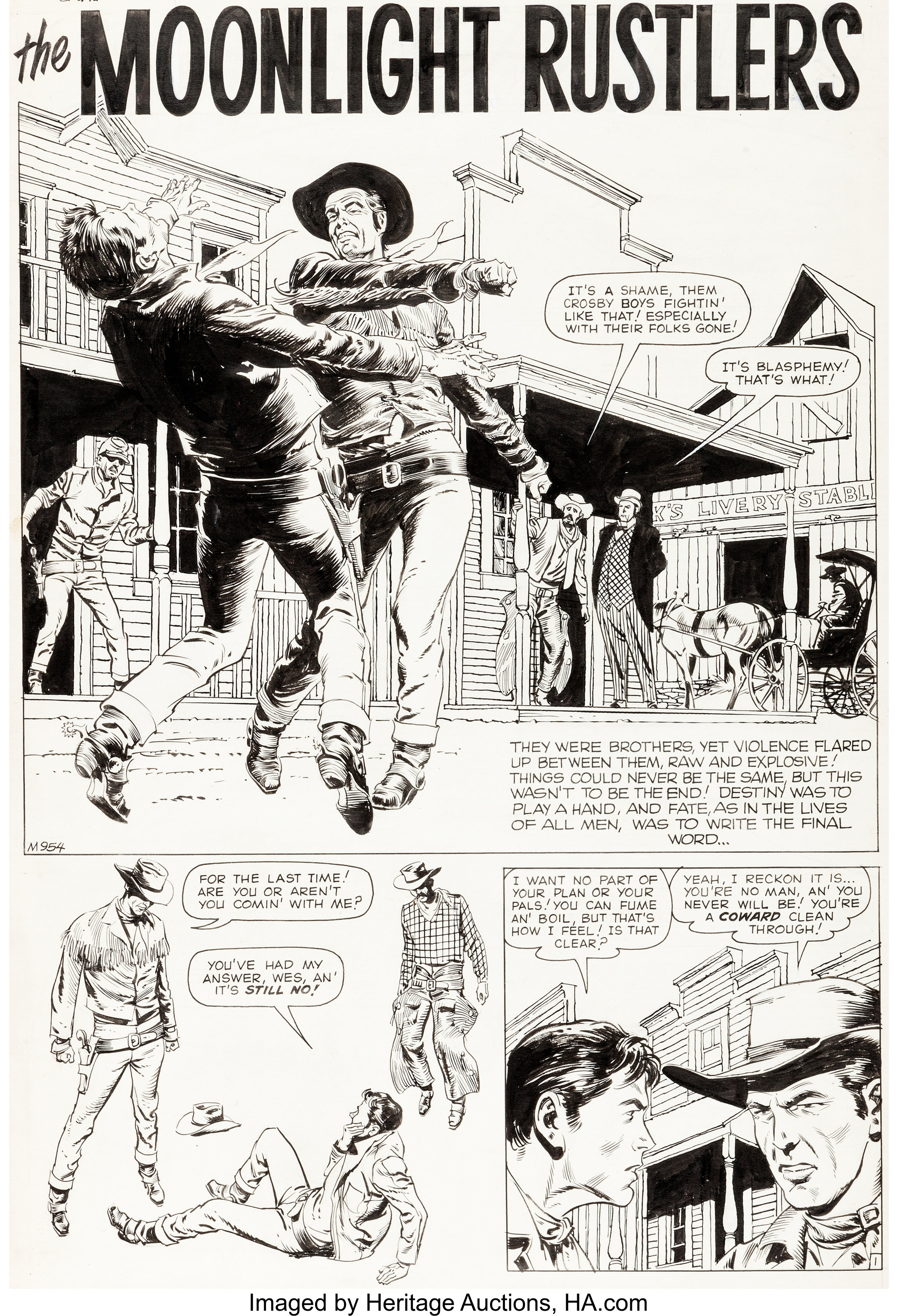 Reed Crandall Gunsmoke Western #50 Complete 5-Page Story