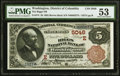 Washington, DC - $5 1882 Brown Back Fr. 474 The Riggs NB Ch. # (E)5046 PMG About Uncirculated 53.</