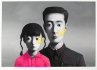 Zhang Xiaogang (b. 1958) Big Family, 2007 Silkscreen in colors on wove paper 36-5/8 x 51-5/8 inch