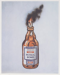 Banksy X Bristol Riots Petrol Bomb, poster, 2011 Offset lithograph in colors on satin white paper
