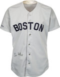 Baseball Collectibles:Uniforms, 1989 Lee Smith Game Worn & Signed Boston Red Sox Jersey.