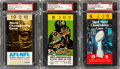 """Football Collectibles:Tickets, 1967-69 Super Bowl I, II and III """"Yellow/Gold Variation"""" Ticket Stubs Lot of 3...."""