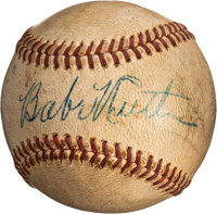 1930's Babe Ruth Single Signed Baseball