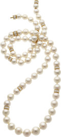 Estate Jewelry:Necklaces, South Sea Cultured Pearl, Diamond, Gold Convertible Jewelry Suite. ... (Total: 3 Items)