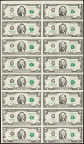 Fr. 1937-G $2 2003 Federal Reserve Notes. Uncut Sheet of 16. Three Examples. Choice Crisp Uncirculated. ... (Total: 3 sh...