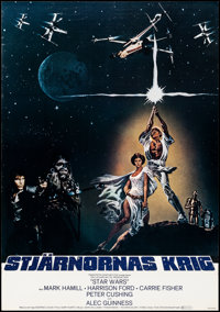 "Star Wars (20th Century Fox, 1977). Rolled, Very Fine. Swedish One Sheet (27.5"" X 39.25"") Tom Jung Artwork. Sc..."