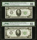 Fr. 2054-F $20 1934 Dark Green Seal Mule Federal Reserve Notes. Two Consecutive Examples. PMG Gem Uncirculated 65 EPQ-66...