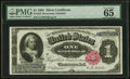 Large Size:Silver Certificates, Fr. 222 $1 1891 Silver Certificate PMG Gem Uncirculated 65 EPQ.. ...