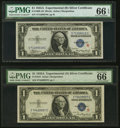 """Small Size:Silver Certificates, Fr. 1609/1610 $1 1935A """"R"""" & """"S"""" Silver Certificates. PMG Gem Uncirculated 66 EPQ.. ... (Total: 2 notes)"""