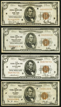Fr. 1850-B, C, D, F $5 1929 Federal Reserve Bank Notes. Fine or Better. ... (Total: 4 notes)