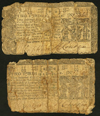 Maryland March 1, 1770 $2/3 Two Examples Very Good. ... (Total: 2 notes)