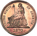 Patterns, 1870 10C Standard Silver Ten Cents, Judd-828, Pollock-918, R.6-7, PR66 Red and Brown PCGS. CAC....