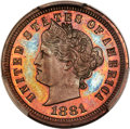 1881 3C Liberty Head Three Cents, Judd-1669, Pollock-1870, R.7, PR66 Red and Brown PCGS. CAC....(PCGS# 72065)
