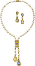 Estate Jewelry:Suites, Sapphire, Diamond, Cultured Pearl, Gold Jewelry Suite. ... (Total: 3 Items)