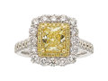 Estate Jewelry:Rings, Fancy Yellow Diamond, Colored Diamond, Diamond, Gold Ring
