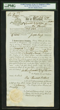 $1,000 Treasury of the United States Register's Office July 28, 1795 (1796) 5 1/2% Bond Hessler X55 Replacement