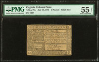 Virginia July 17, 1775 £3 PMG About Uncirculated 55 Net