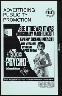 """Psycho (Universal, R-1969). Very Fine. Uncut Pressbook (12 Pages, 8.75"""" X 13.75""""). Hitchcock"""