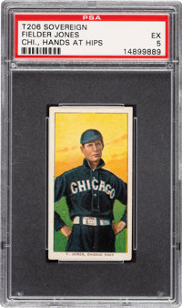 1909-11 T206 Sovereign 350 Fielder Jones (Hands At Hips) PSA EX 5 - Pop Two, One Higher for Brand/Series