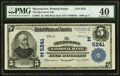 National Bank Notes:Pennsylvania, Myerstown, PA - $5 1902 Plain Back Fr. 607 The Myerstown NB Ch. # (E)5241 PMG Extremely Fine 40.. ...