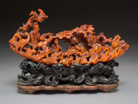 A Chinese Carved Buffalo Horn on Carved Hardwood Base, Qing Dynasty 7-7/8 x 11-1/4 x 3 inches (20.0 x 28.6 x 7.6 c