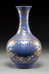 A Chinese Gilt-Decorated Powder Blue Porcelain Vase, late Qing Dynasty Marks: Six-character Qianlong mark in gildi