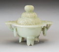 Carvings, A Chinese Carved White Jade Mughal-Style Censer, Qing Dynasty. 4-1/8 x 5-1/8 x 3-1/2 inches (10.5 x 13.0 x 8.9 cm). ...