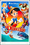 """Movie Posters:Animation, Pinocchio (Buena Vista, R-1992). Rolled, Very Fine. One Sheets (2) (27"""" X 40"""") DS Regular and Advance, John Alvin Advance Ar... (Total: 2 Items)"""