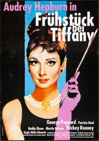 "Breakfast at Tiffany's (Paramount, R-1980). Rolled, Very Fine-. German A1 (23.25"" X 33""). Romance"