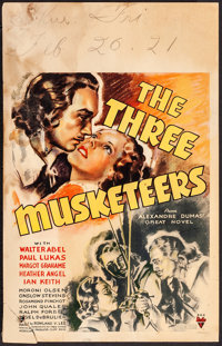 "The Three Musketeers (RKO, 1935). Fine-. Window Card (14"" X 22""). Swashbuckler"