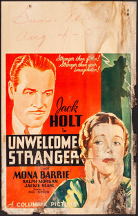 "The Unwelcome Stranger (Columbia, 1935). Very Good. Window Card (14"" X 22""). Drama"