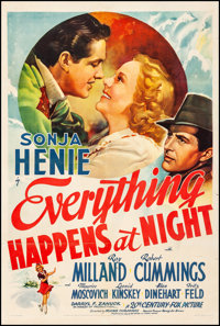 """Everything Happens at Night (20th Century Fox, 1939). Fine/Very Fine on Linen. One Sheet (27.25"""" X 41""""). Drama..."""