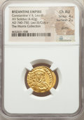 Ancients:Byzantine, Ancients: Constantine V Copronymus (AD 740/1-775), with Leo III. AV solidus (20mm, 4.42 gm, 5h). NGC Choice AU 4/5 - 2/5, graffito. ...