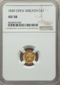 1849 G$1 Open Wreath AU58 NGC. NGC Census: (234/1280). PCGS Population: (127/969). CDN: $315 Whsle. Bid for problem-free...