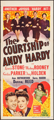 "The Courtship of Andy Hardy (MGM, 1943). Folded, Very Fine-. Australian Daybill (13.5"" X 30""). Romance"