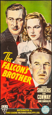 "The Falcon's Brother (RKO, 1942). Folded, Very Fine-. Trimmed Australian Daybill (13"" X 29""). Mystery"