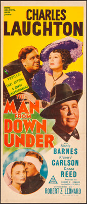 "The Man from Down Under (MGM, 1943). Folded, Very Fine. Australian Daybill (12.75"" X 30""). Drama"