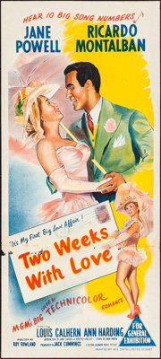 """Two Weeks with Love (MGM, 1950). Folded, Fine/Very Fine. Australian Daybill (13.5"""" X 30""""). Comedy"""