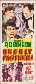 """Movie Posters:Crime, Unholy Partners (MGM, 1941). Folded, Fine/Very Fine. Australian Daybill (13.25"""" X 30""""). Crime.. ..."""