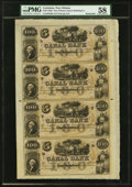 Obsoletes By State:Louisiana, New Orleans, LA- Canal Bank $100-$100-$100-$100 18__ Uncut Sheet PMG Choice About Unc 58.. ...