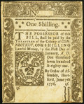 Colonial Notes:Connecticut, Connecticut June 7, 1776 1s Extremely Fine-About New.. ...