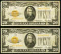Small Size:Gold Certificates, Fr. 2402 $20 1928 Gold Certificate. Two Examples Fine-Very Fine.. ... (Total: 2 notes)