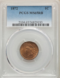 1872 1C MS65 Red and Brown PCGS. PCGS Population: (88/13). NGC Census: (75/9). CDN: $2,400 Whsle. Bid for NGC/PCGS MS65...