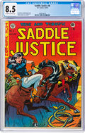 Golden Age (1938-1955):Western, Saddle Justice #6 (EC, 1949) CGC VF+ 8.5 Off-white to white pages....