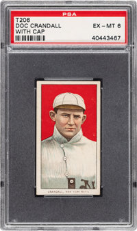 1909-11 T206 Sovereign 460 Doc Crandall (With Cap) PSA EX-MT 6 - Pop One, One Higher for Brand