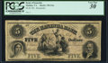 Obsoletes By State:Virginia, Malden, VA- Bank of Kanawha $5 185_ G4a Jones BM10-05 Remainder PCGS Very Fine 30.. ...