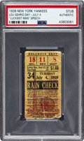 Baseball Collectibles:Tickets, 1939 Lou Gehrig Day New York Yankees Ticket Stub, PSA Authentic....