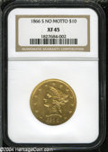 Liberty Eagles: , 1866-S $10 No Motto XF45 NGC. ...