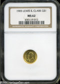 Commemorative Gold: , 1905 G$1 Lewis and Clark MS62 NGC. ...